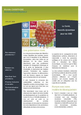 Le COVID, nouvelle dynamique pour les Objectifs de développement durable