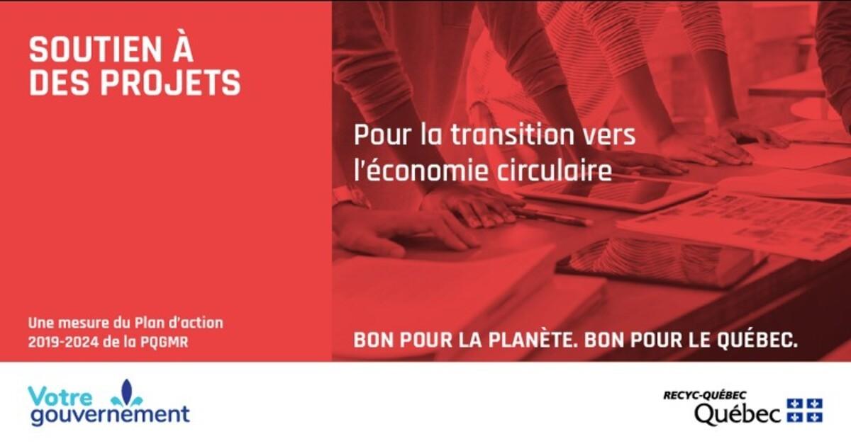 RECYC-QUÉBEC accorde un soutien de 3,3 M$ à des projets d'économie circulaire