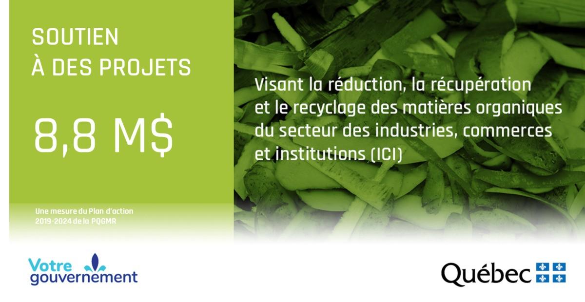 8,8 M$ pour 31 projets de réduction et de recyclage de la matière organique